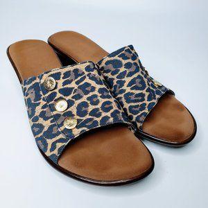 Onex Leopard Pattern Slip On Wedge Sandals 9